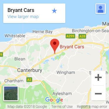 Bryant Cars Canterbury Map